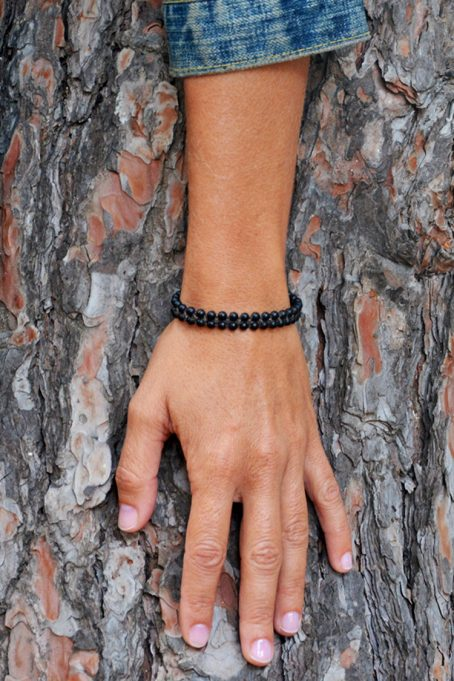 double line black stone bracelet