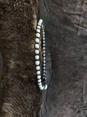 White beaded stone bracelet