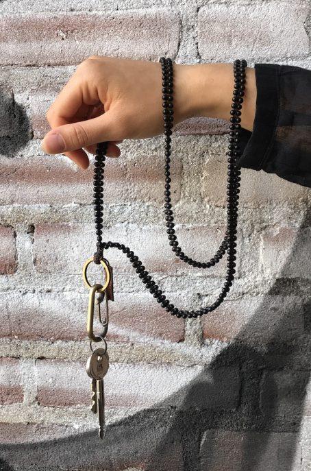 long black natural keycord
