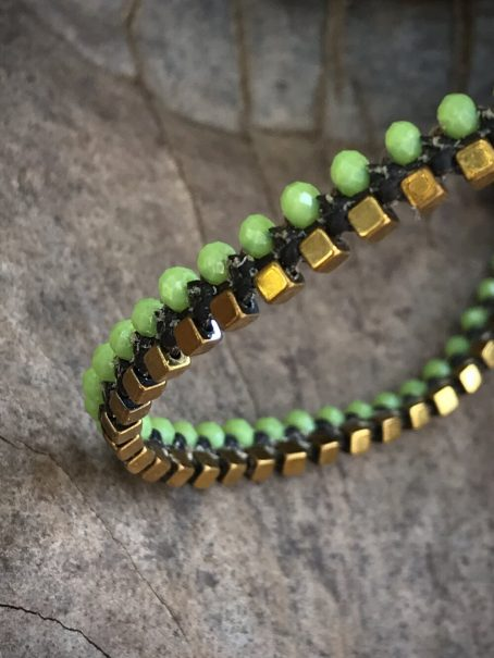 apple green and hematite anklet