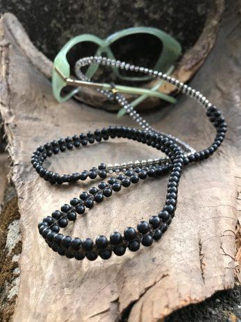 Black stone & transparent eyeglasses chain