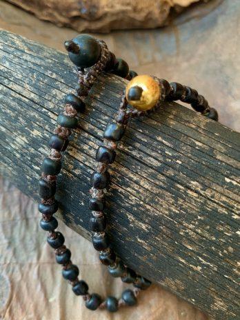 Exclusive black ethnic glass bead bracelet
