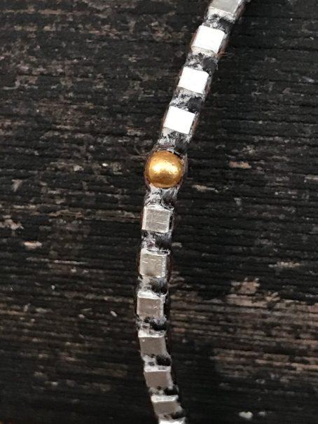 fine silver & 14krt golden bead