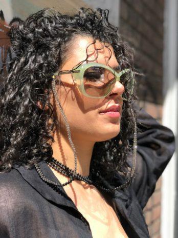 Indigo & transparent eyeglasses chain