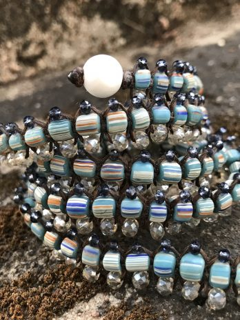 Mosaic striped blue & indigo Centipede jewel