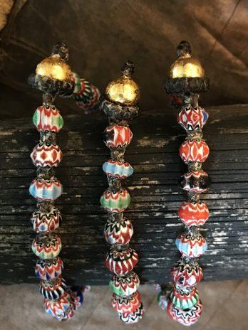 Multicoloured glass bead bracelet