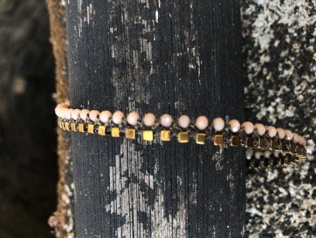 rose quartz glass and hematite anklet