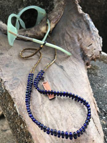 Short indigo eyeglasses chain