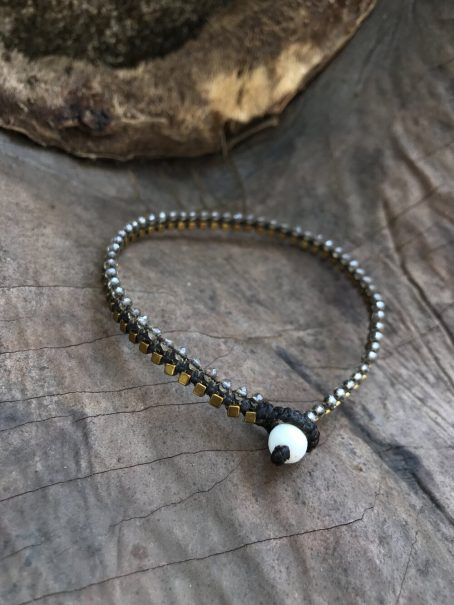 transparent glass and hematite anklet