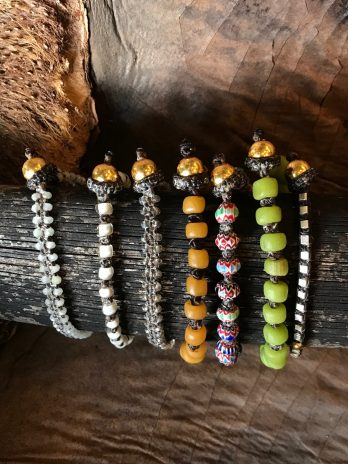 Warm orange ethnic glass bead bracelet