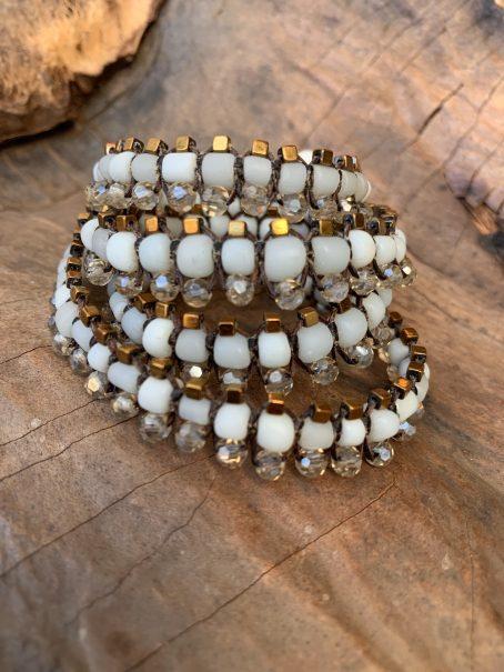 white and hematite centipede jewel
