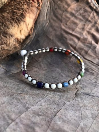 White anklet with rainbow colours