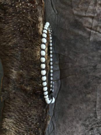 White beaded stone anklet