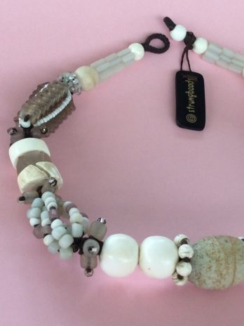 Whites, contemporary tribal necklace