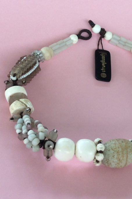 whites contemporary tribal necklace